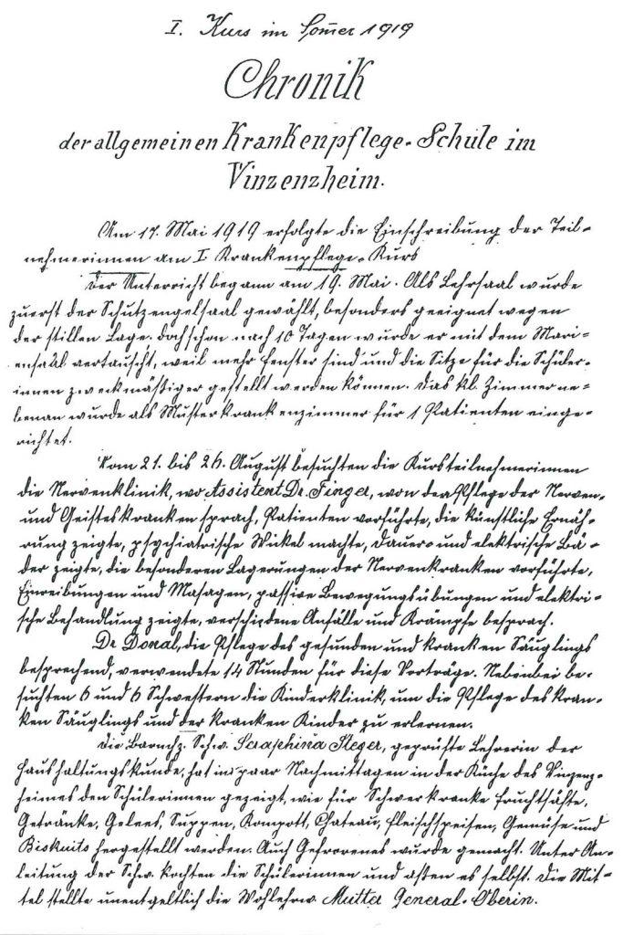 Auszug aus der Chronik des ersten Kurses an der Krankenpflegeschule im Vizenzheim im Sommer 1919.