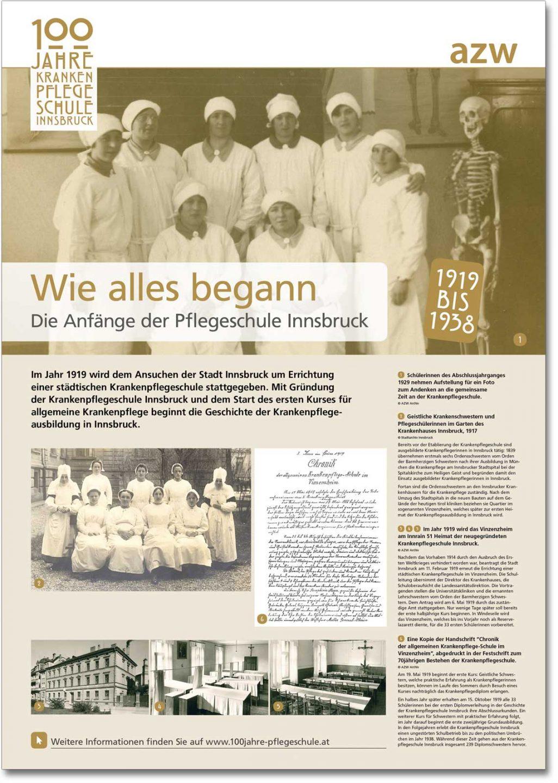 Plakat Wie alles begann aus der Ausstellung zu 100 Jahre Krankenpflegeschule Innsbruck