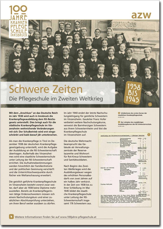 """Plakat """"Schwere Zeiten"""" aus der Ausstellung zu 100 Jahre Krankenpflegeschule Innsbruck"""
