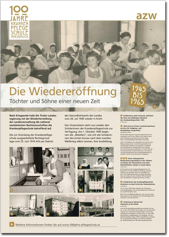 """Plakat """"Die Wiedereröffnung"""" aus der Ausstellung zu 100 Jahre Krankenpflegeschule Innsbruck"""