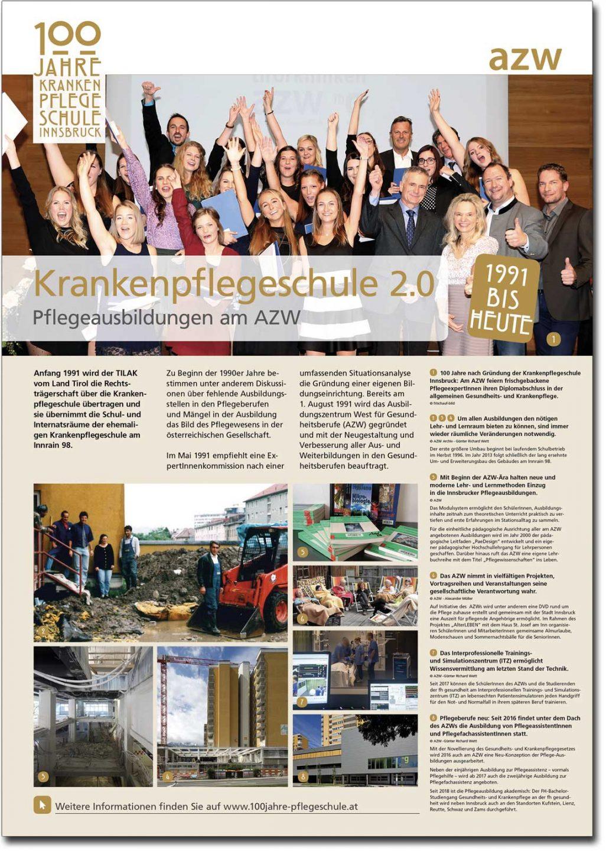 "Plakat ""Krankenpflegeschule 2.0"" aus der Ausstellung zu 100 Jahre Krankenpflegeschule Innsbruck"